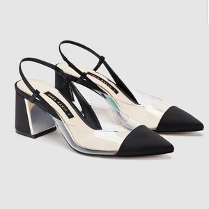 Zara brand new vinyl black pumps size 39 us9